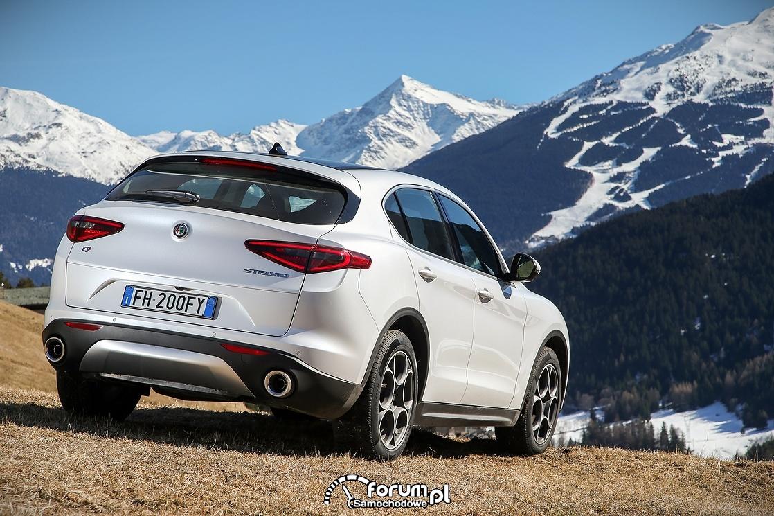 Alfa Romeo Stelvio, tył, góry, zima