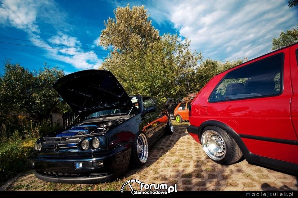 VW Golf III czarny, VW Golf II czerwony, Tuning, ASTW, 2