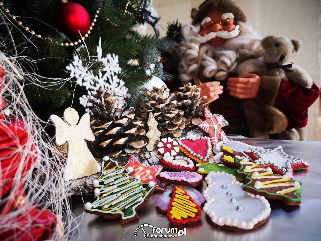 Kartka świąteczna 2019, pierniki, mikołaj, choinka