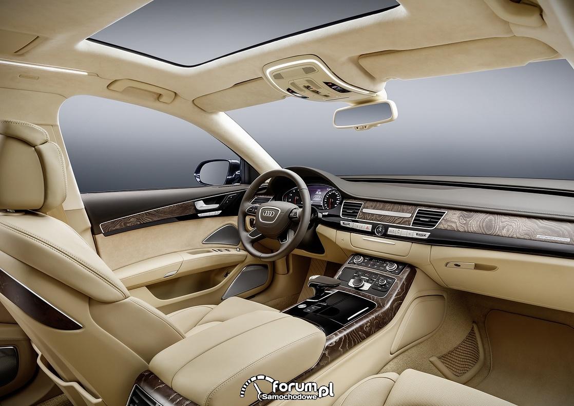 Audi A8 L extended, kokpit, deska rozdzielcza, wnętrze