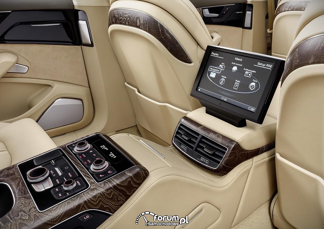 Audi A8 L extended, panel sterowania dla pasażerów, wnętrze