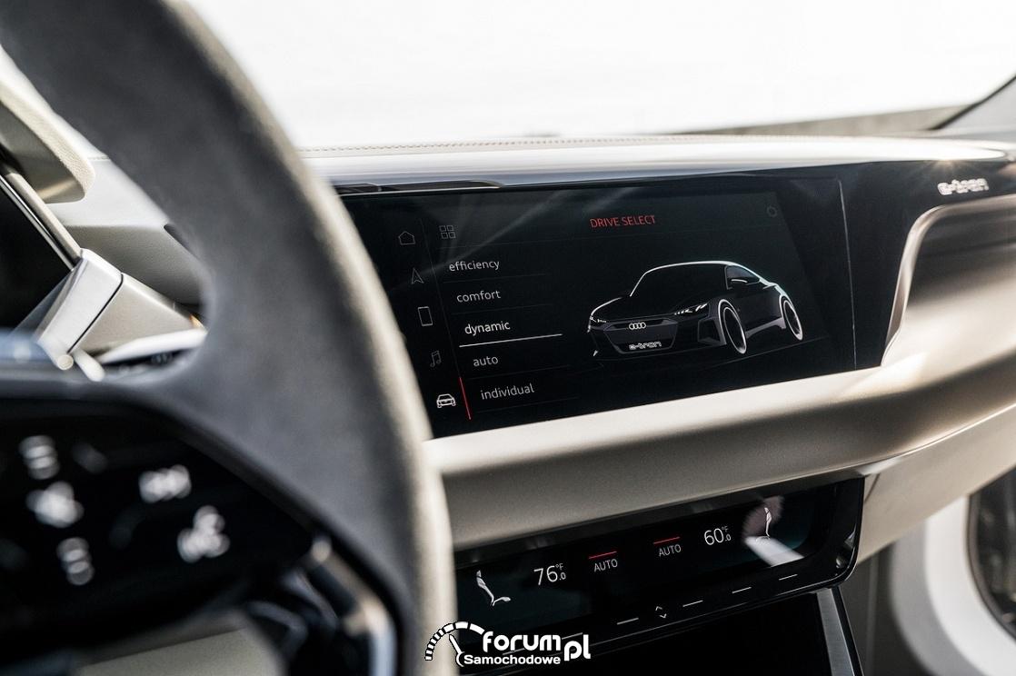 Audi e-tron GT concept, wnętrze, środkowy panel dotykowy