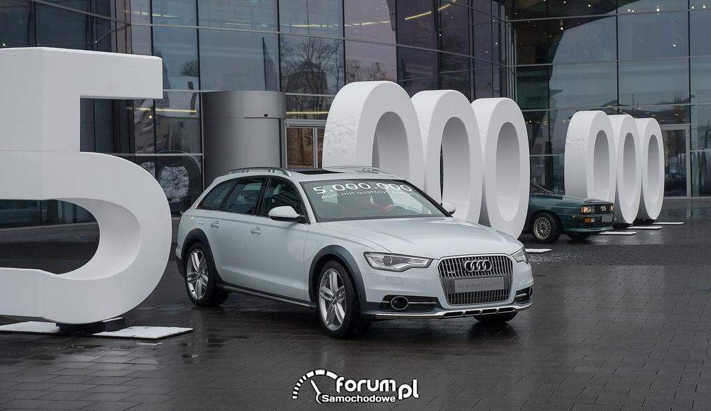 Białe Audi A6 allroad 3.0 TDI, egzemplarz pięciomilionowy