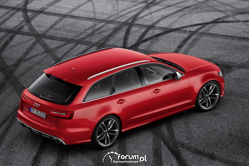 Audi RS 6 Avant quattro, widok z góry z tyłu, 2013