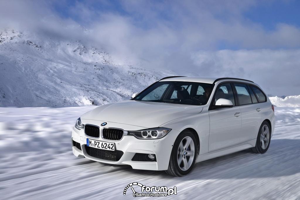 BMW 320d xDrive Touring, przód, zima w górach
