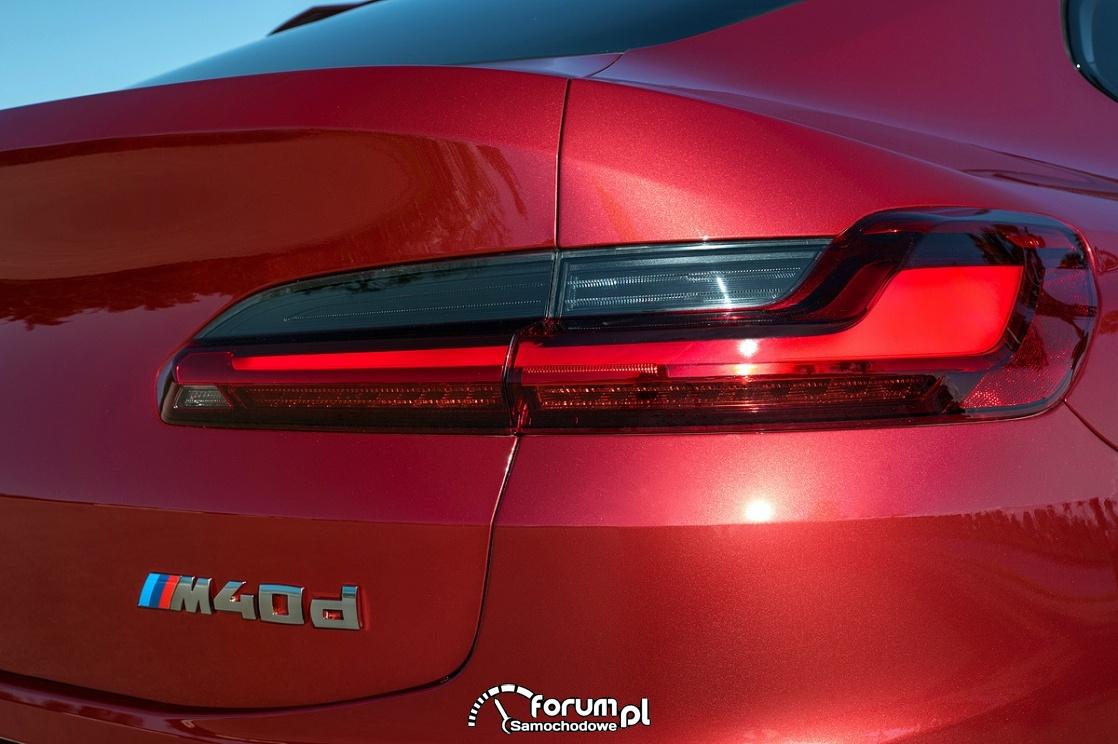 BMW X4 M40d, tylne światła