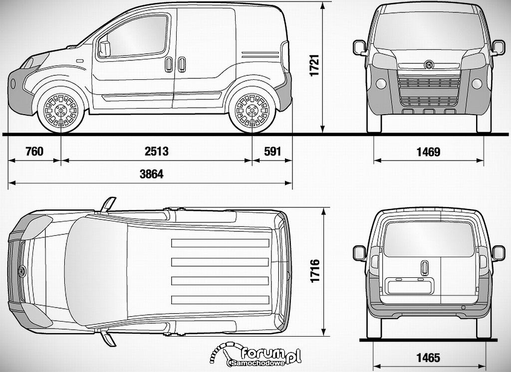 Fiat Fiorino, wymiary