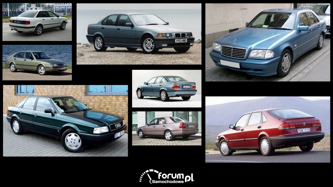 Porównanie: Audi 80 B4, BMW Seria 3 e36, Mercedes C w202, Saab 900 II