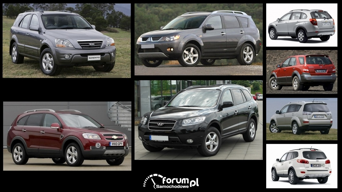 Porównanie: Chevrolet Captiva, Hyundai Santa Fe II, Kia Sorento I, Mitsubishi Outlander II