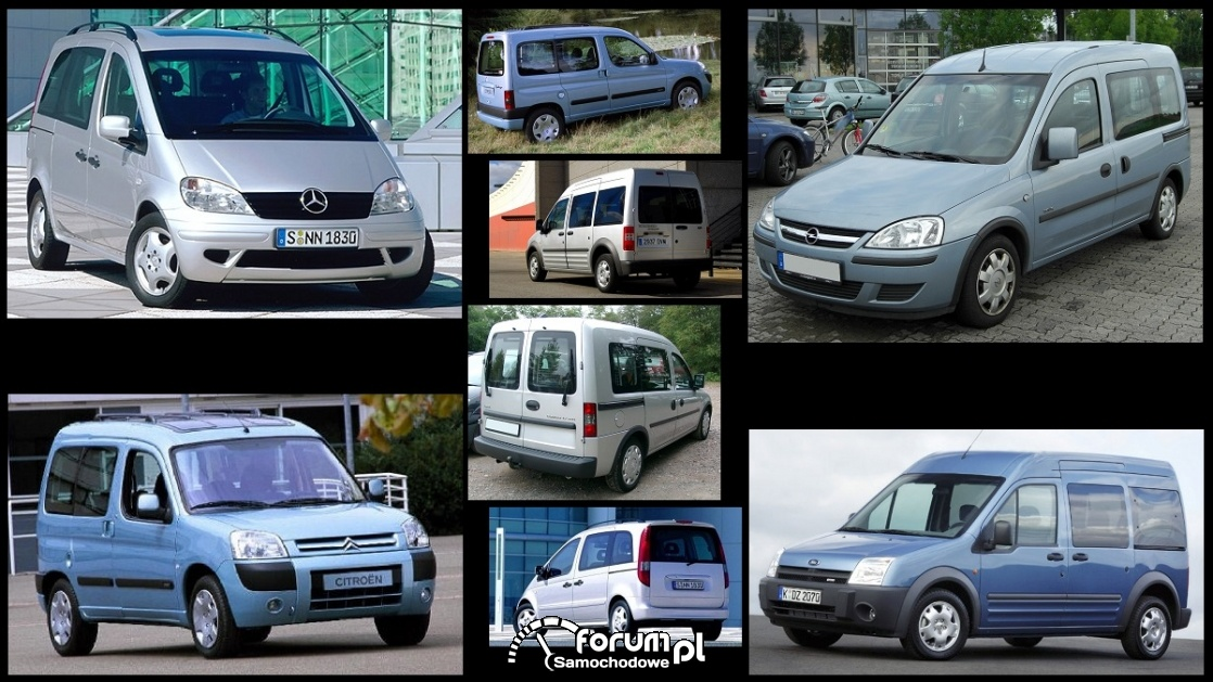 Porównanie: Citroen Berlingo I, Ford Tourneo Connect I, Mercedes Vaneo, Opel Combo C