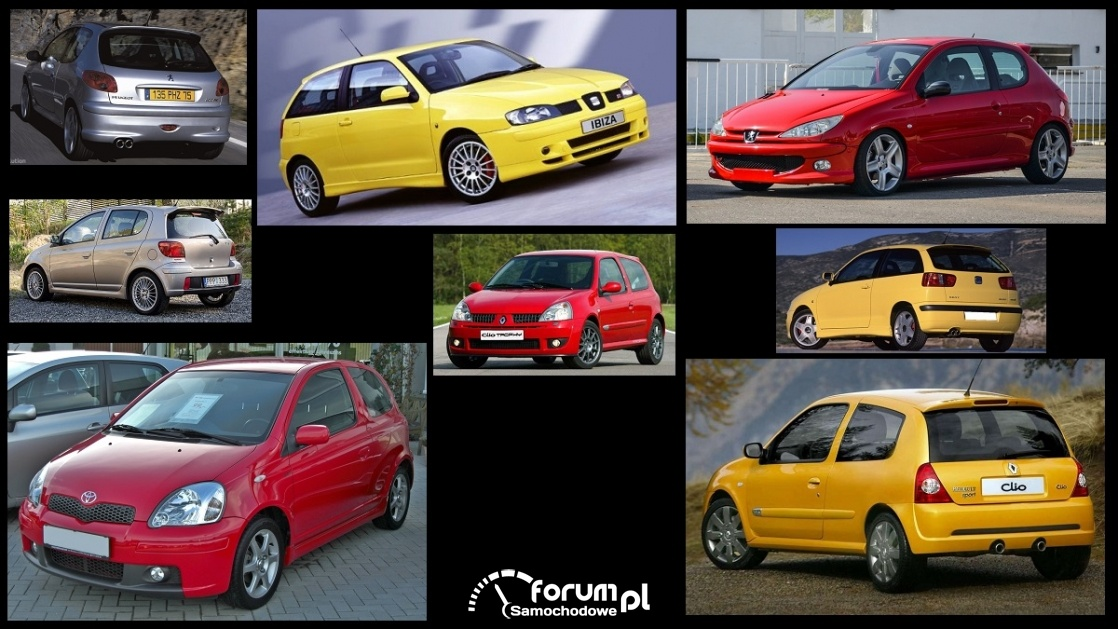Porównanie: Peugeot 206 RC, Renault Clio II Sport, Seat Ibiza II Cupra, Toyota Yaris I TS