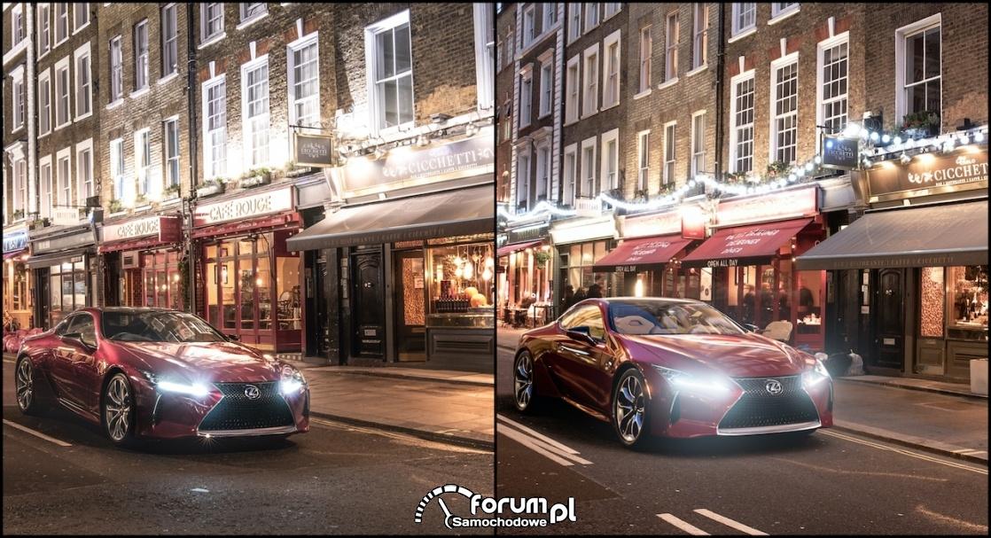 Lexus coupé LC 500, wellington street - świat realny vs. wirtualny