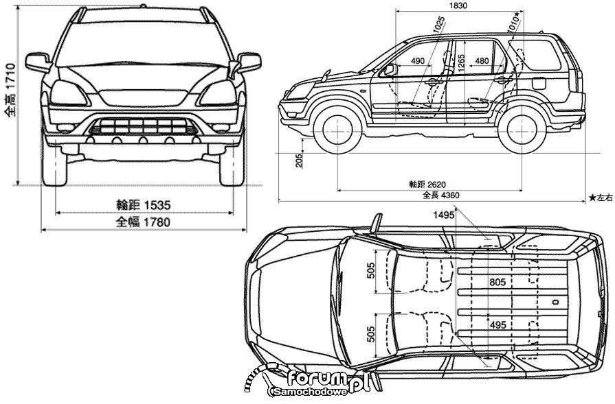Honda CRV II wymiary