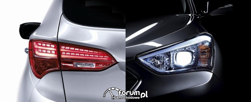 Hyundai Santa Fe, lampy przednie i tylne, 2012