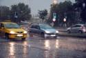 Deszcz, droga, skrzyżowanie, samochody