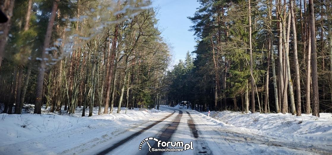 Droga przez las, zima, śnieg, koleiny w śniegu