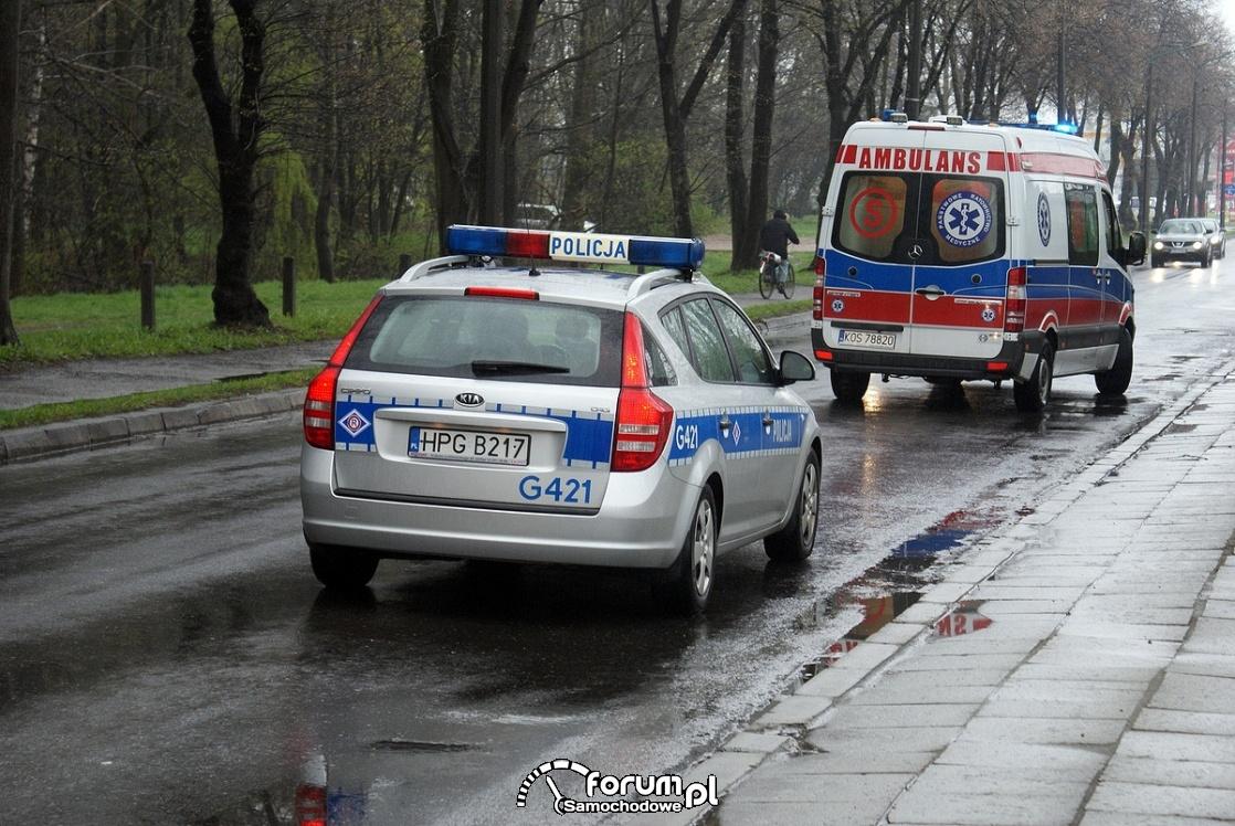 Karetka, ambulans, radiowóz policyjny
