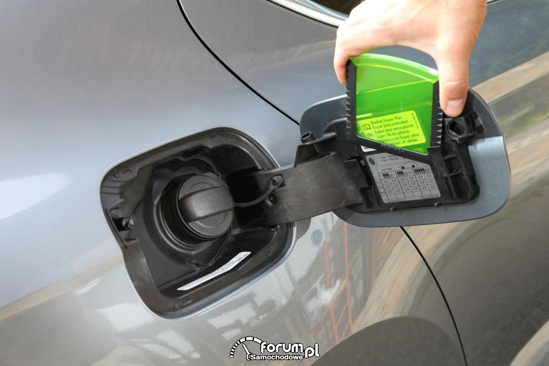 Korek wlewu paliwa i klapka osłaniająca