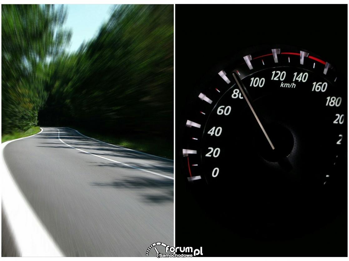 Licznik i duża prędkość na krętej drodze