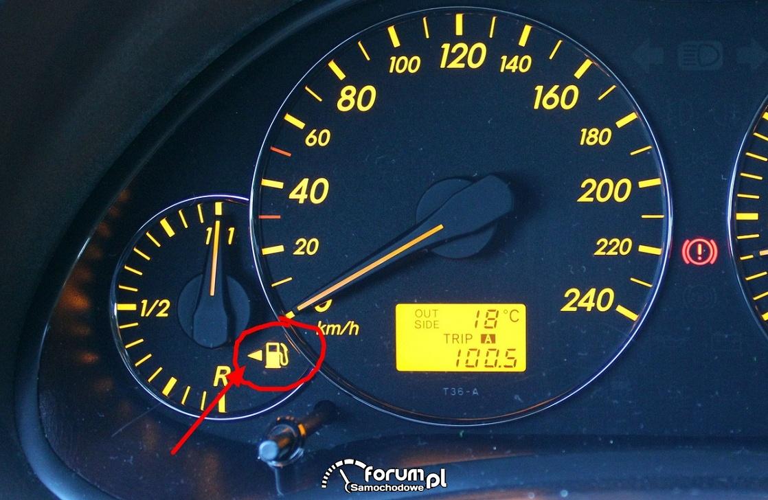 Licznik - ikona pokazująca po której stronie mamy wlew paliwa