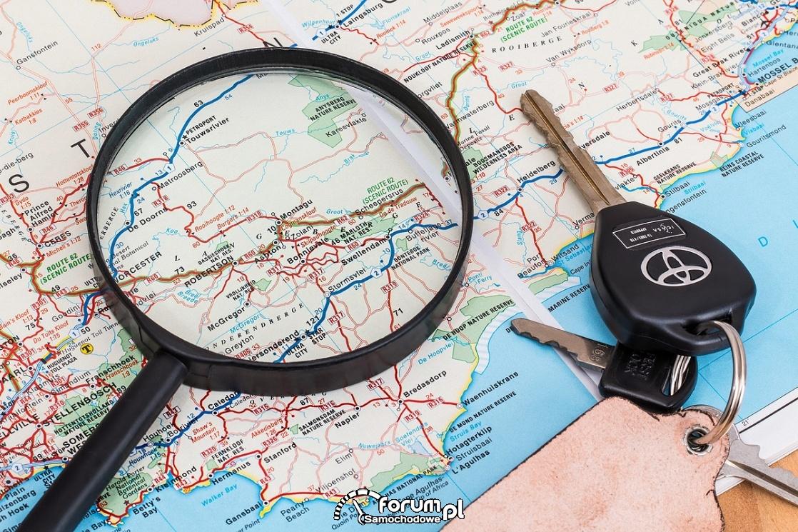 Mapa wakacyjnych podróży samochodem