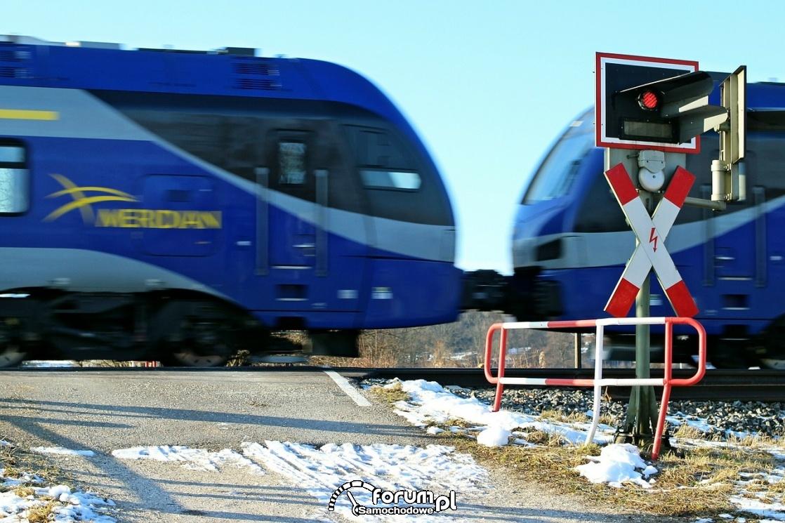 Przejzad kolejowy, rogatka, pociąg