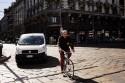Rower, miasto, samochód