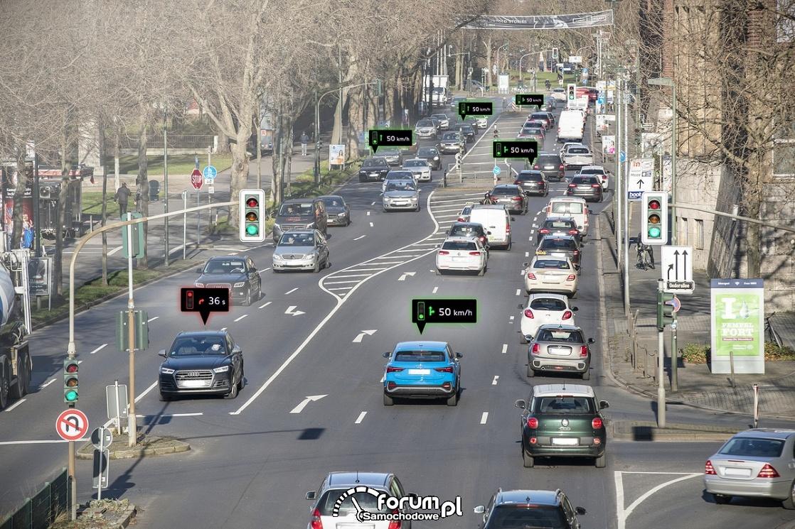 Ruch uliczny i komunikacja Audi z sygnalizacją świetlną