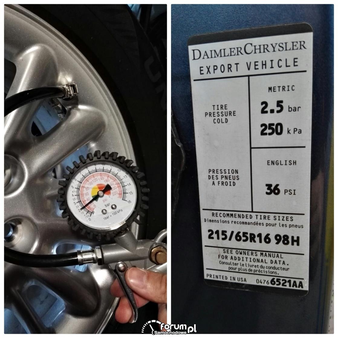 Tabliczka z informacją o ciśnieniu w oponach, ciśnieniomierz samochodowy