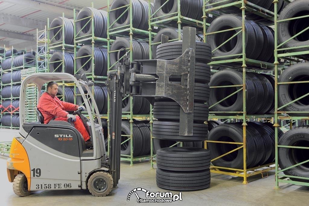 Transport opon wózkiem widłowym po hali, Michelin