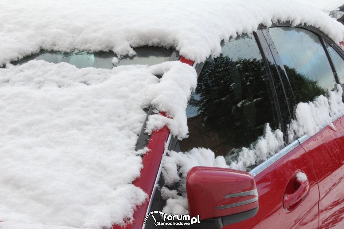 Zaśnieżone szyby i dach samochodu