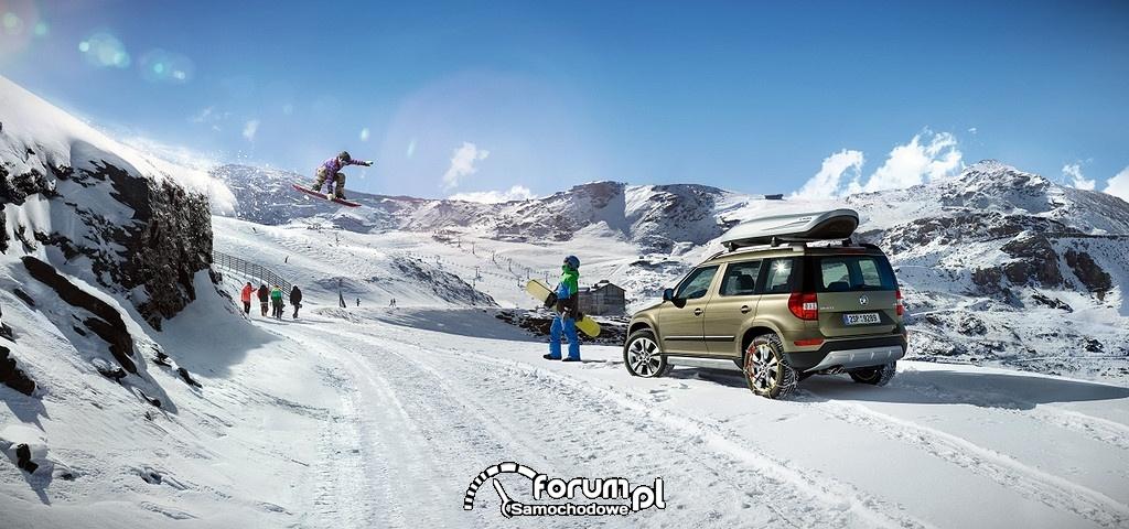 Zaspy śnieżne w górach, Skoda Yeti