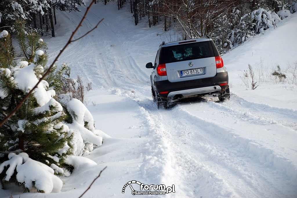 Zjazd na łańcuchach z zaśnieżonej góry, Skoda Yeti