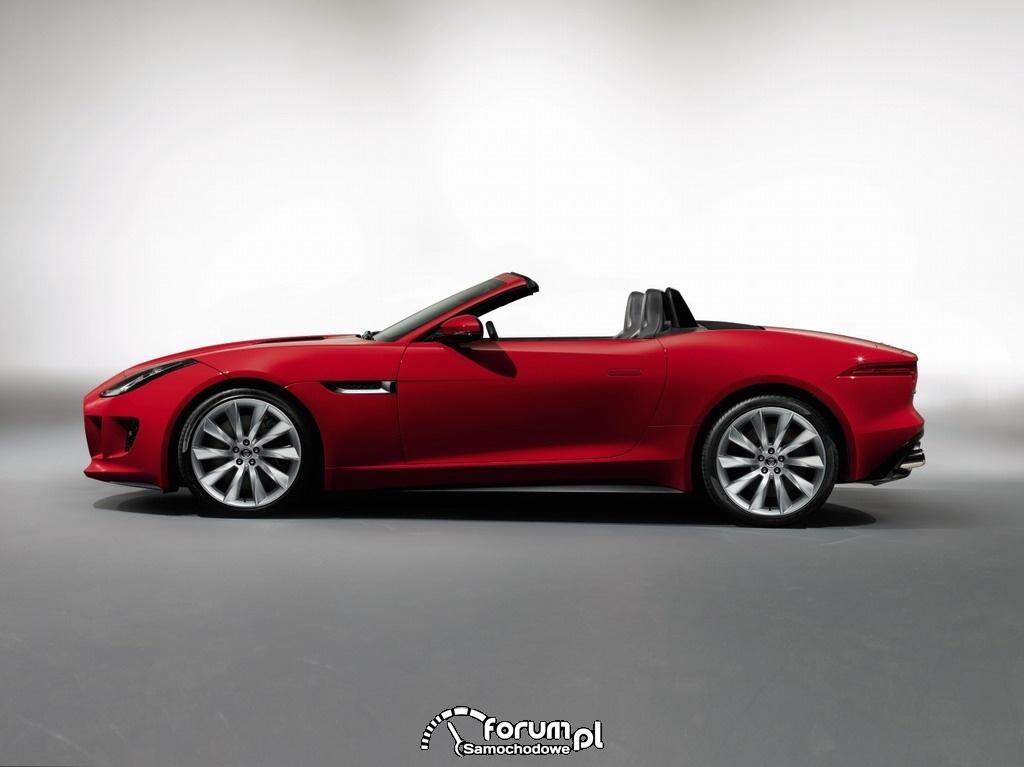Jaguar F-Type, dwumiejscowy kabriolet, bok
