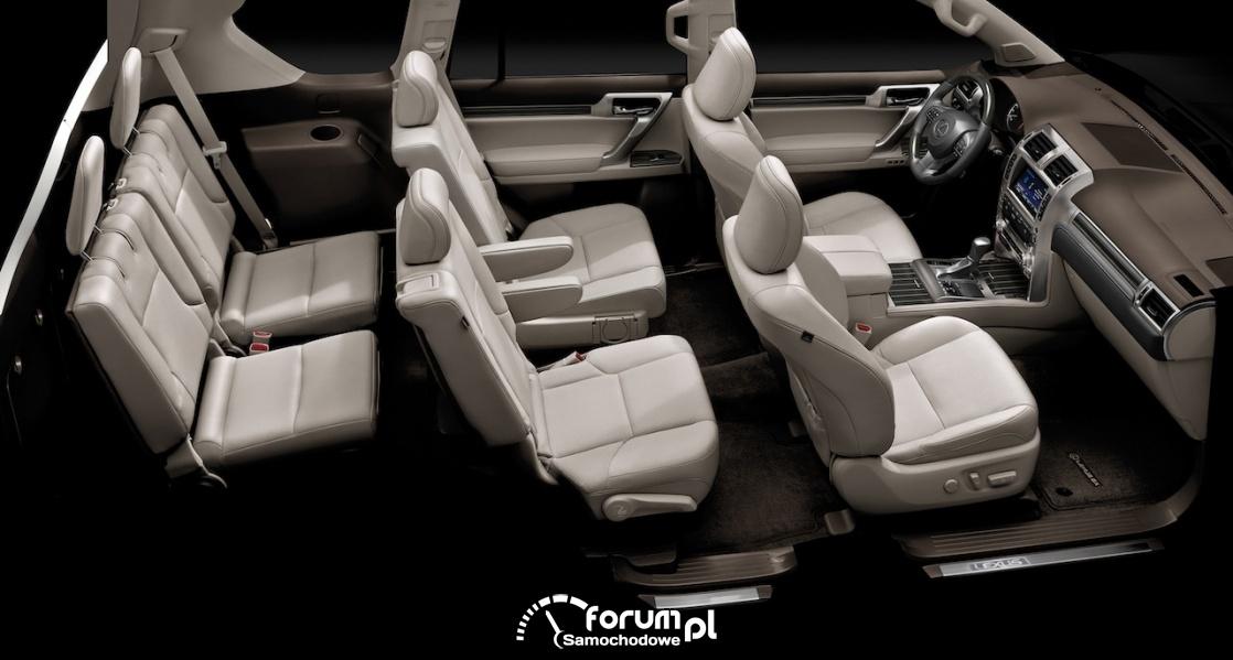 Lexus GX 460, wnętrze, trzy rzędy siedzeń