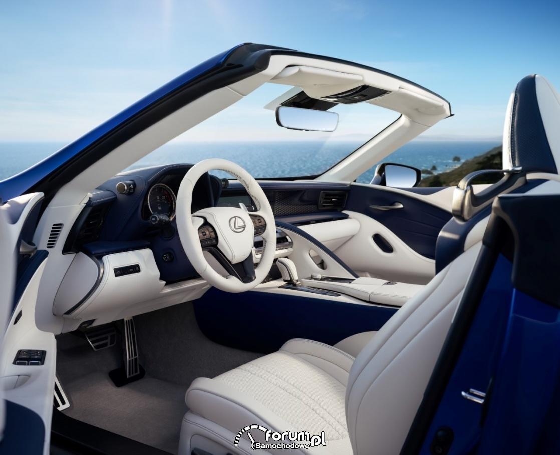 Lexus LC 500 Convertible, białe, jasne wnętrze