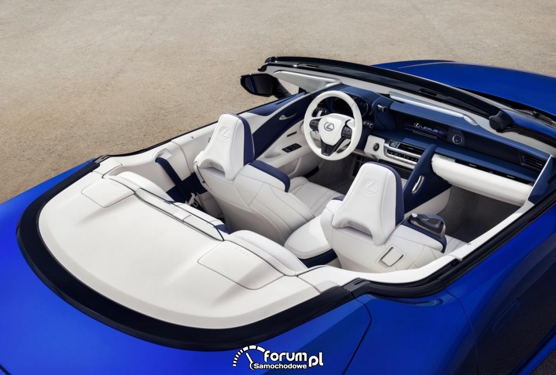 Lexus LC 500 Convertible, wnętrze z otwartym dachem
