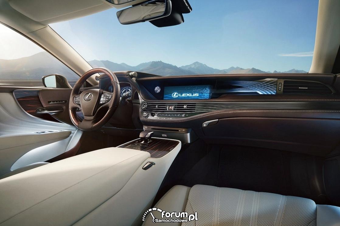 Lexus LS 500h, wnętrze, deska rozdzielcza