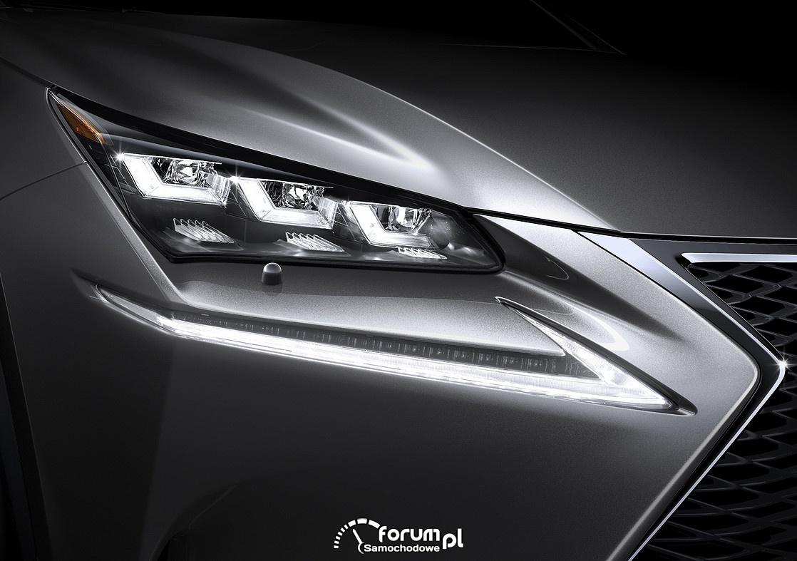 Lexus NX200t, przednie reflektory LED