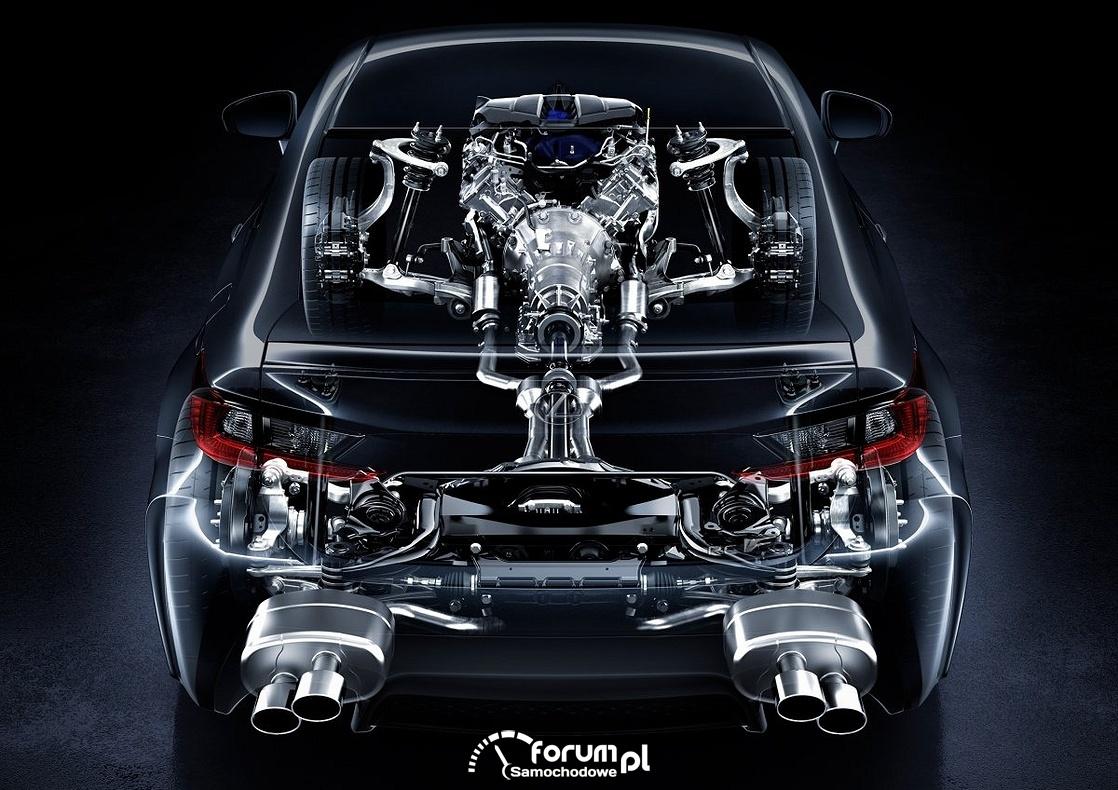 Lexus RC F V8 477KM, podwójne wydechy