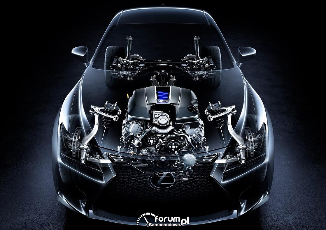 Lexus RC F V8 477KM, silnik umieszczony wzdłużnie