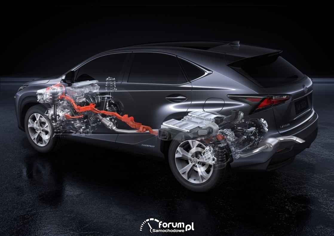 Lexus RX 450h, przekrój układu napędowego i wydech