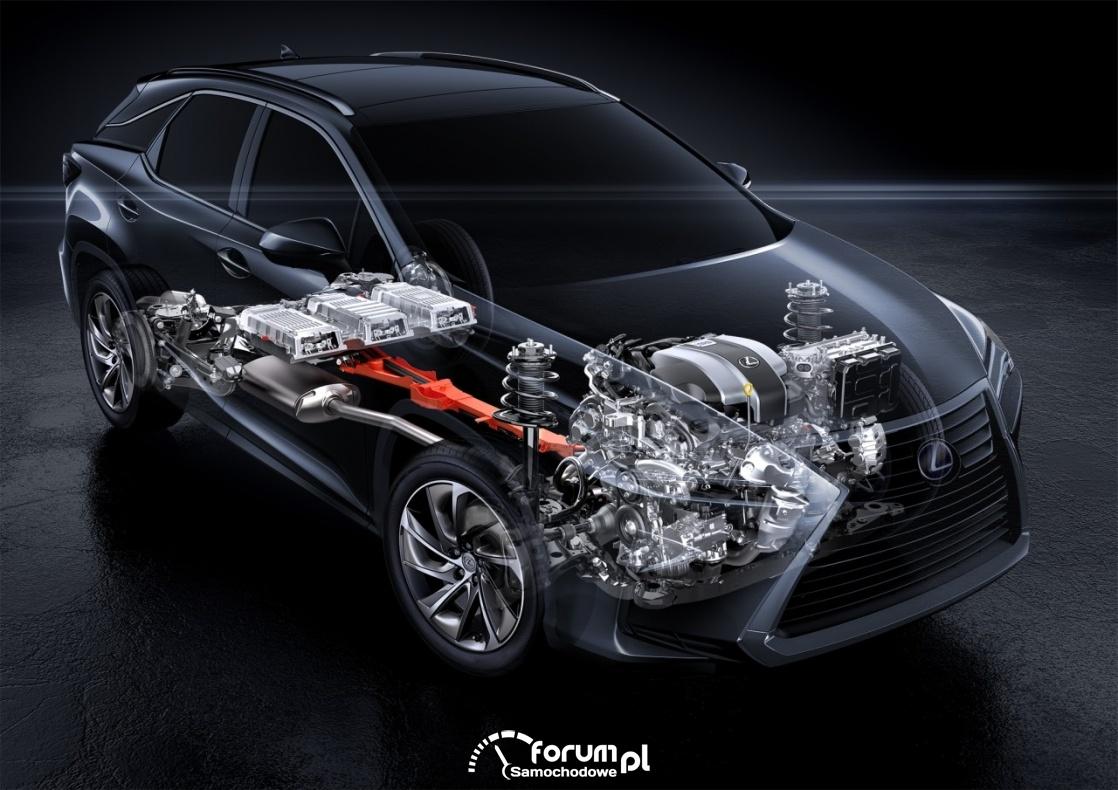 Lexus RX 450h, przekrój układu napędowego