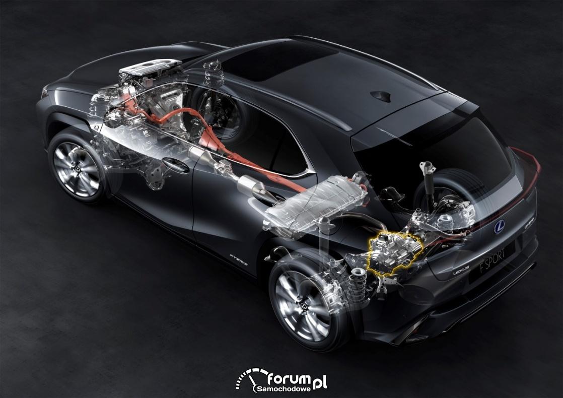 Lexus UX 250h, przekrój napędu hybrydowego