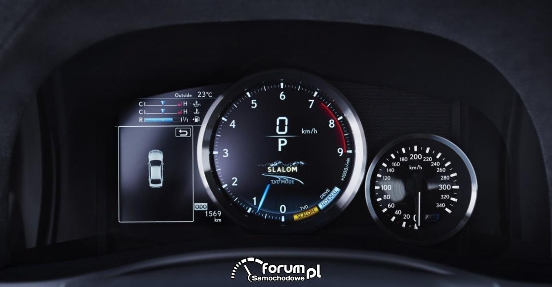 Tryb TVD, zegary, Lexus GSF