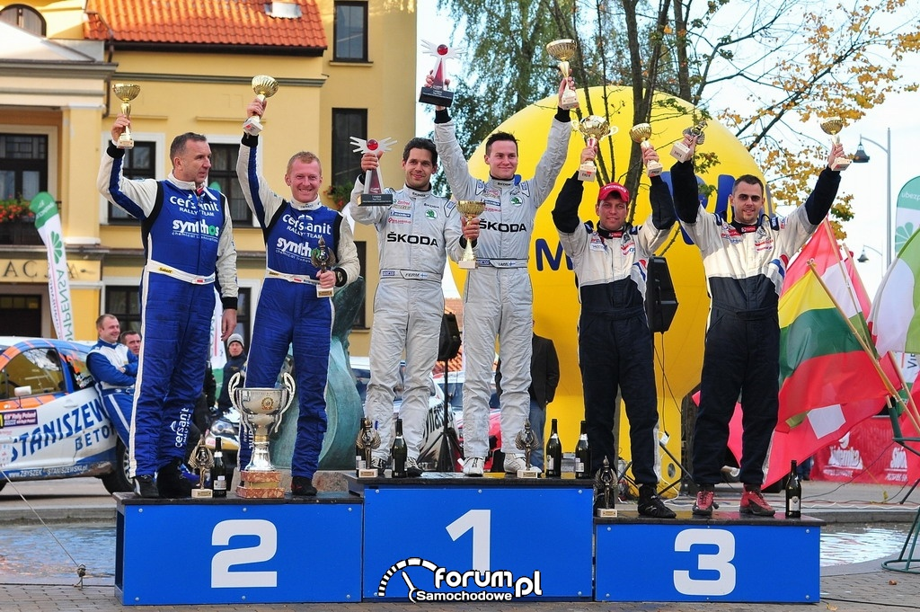 69. Rajd Polski, Esapekka Lappi, Janne Ferm, podium, SKODA Motorsport