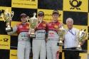 Mike Rockenfeller, Edoardo Mortara, Mattias Ekström na podium w Zandvoort