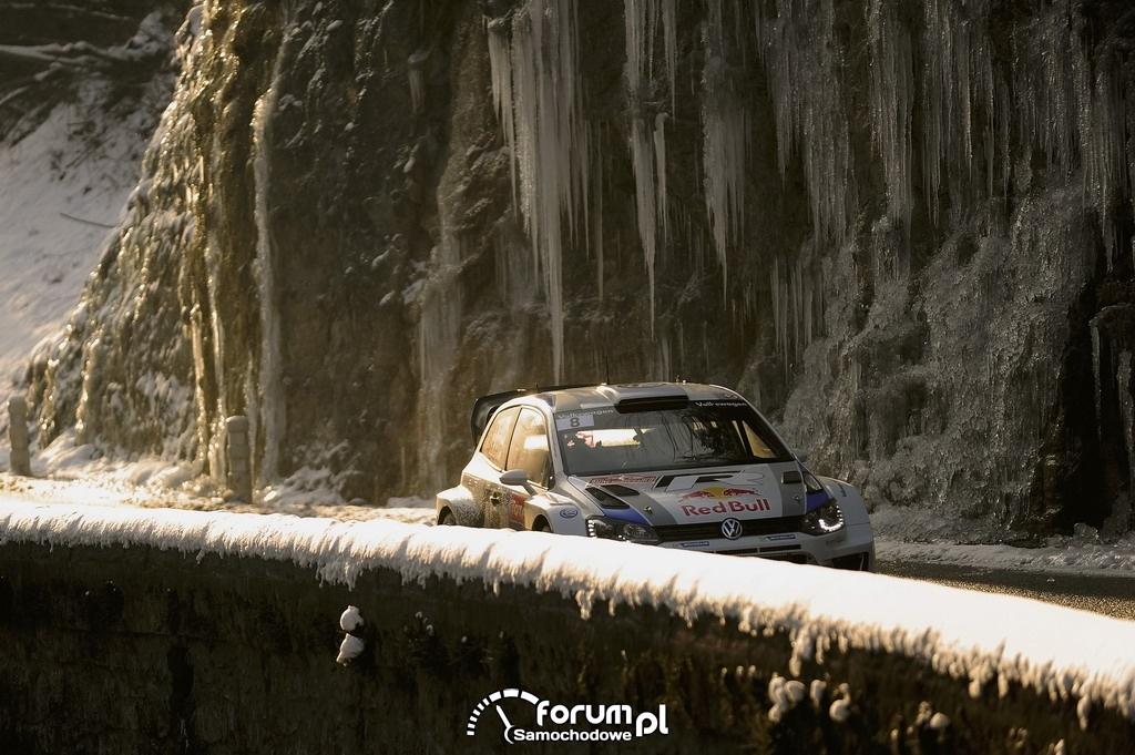 VW Polo R WRC, Rajd Monte Carlo 2013, droga w skałach