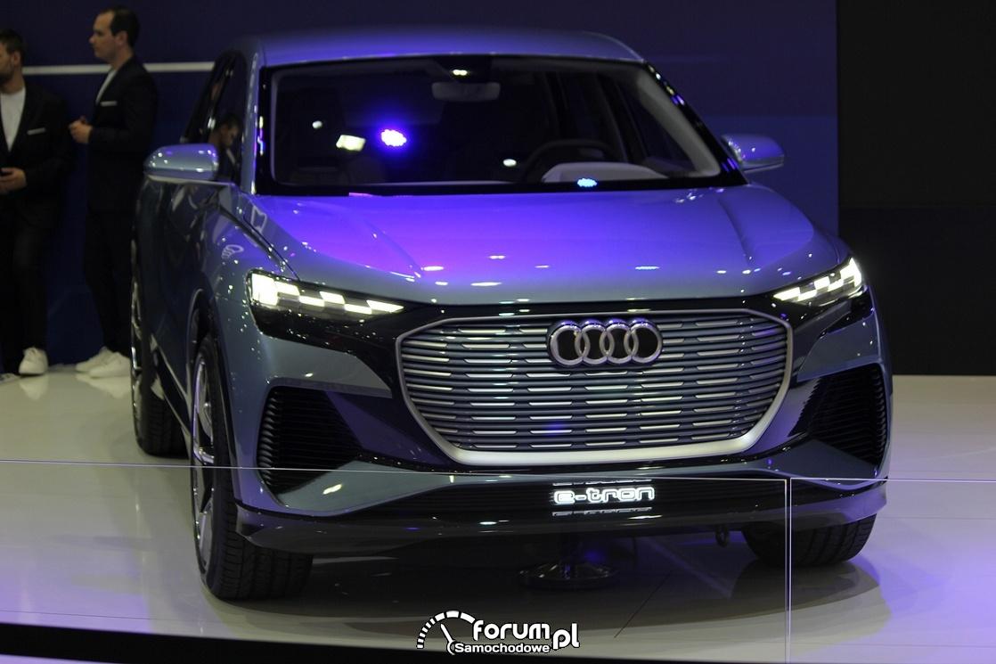 Audi Q4 e-tron, widok przodu, światła LED