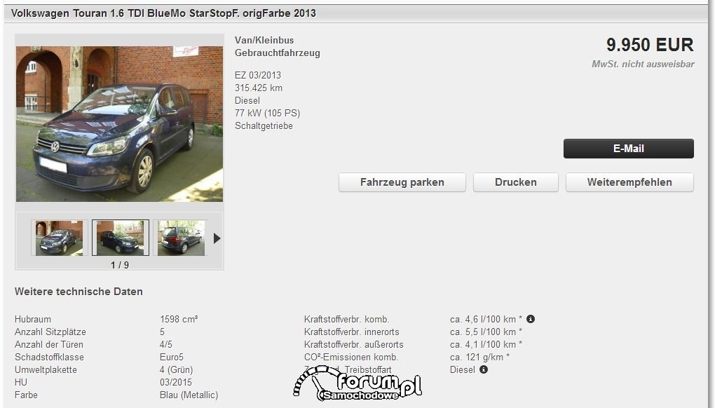 Volkswagen Touran 1.6 TDI BlueMo Start&stop
